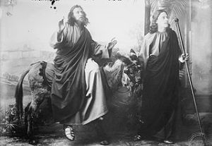 Entry into Jerusalem; Christ (played by Anton Lang) and John, with donkey; at the Oberammergau passion play, Bavaria, Germany, 1900