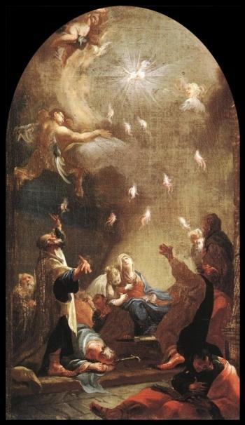 """Pentecost,"" Josef Ignaz Mildorfer, circa 1750, public domain, via Wikimedia Commons"